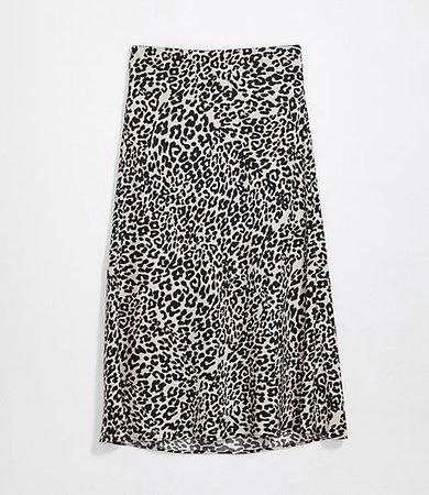 Plus Animal Print Pull On Midi Skirt