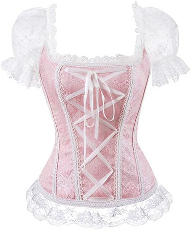 Women's Princess Renaissance Corset Lace Ruched Sleeves Elegant Overbust Top - Pink