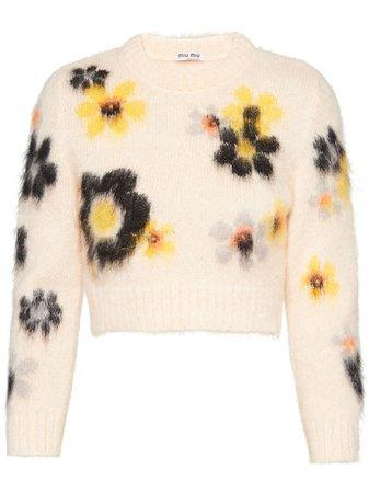 Miu Miu Jersey Con Motivo Floral - Farfetch