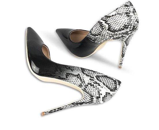 Black/White Toe Ombre Snake Skin Heels – Renae Rashod