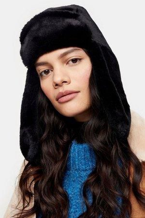 Black Faux Fur Trapper Hat | Topshop