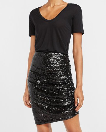 High Waisted Sequin Ruched Mini Skirt