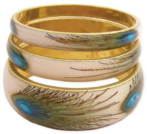 Wholesale Set of 3 Peacock Feather Print Bangles   ZAD Fashion, Costume & Trend Jewelry
