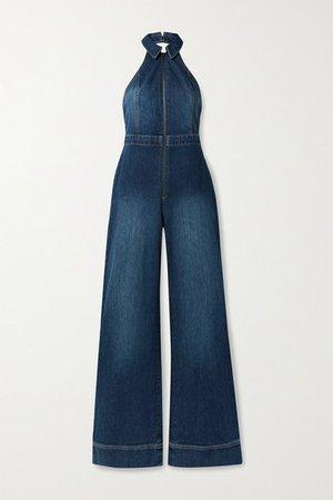 Alice Olivia - Jersey-trimmed Stretch-denim Halterneck Jumpsuit - Mid denim