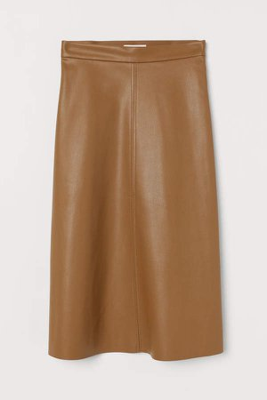 Faux Leather Skirt - Beige