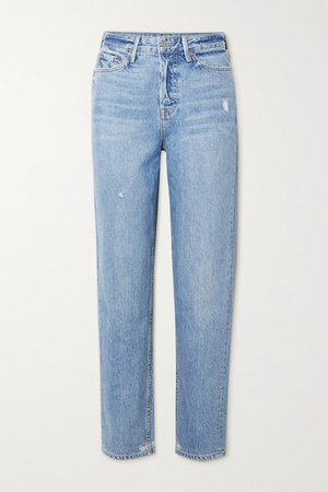 Devon Distressed High-rise Straight-leg Jeans - Light denim