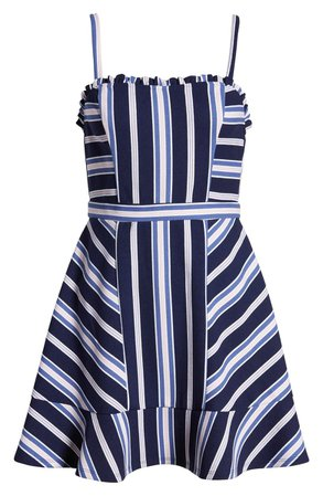 Speechless Mitered Stripe Ruffle Trim Minidress navy