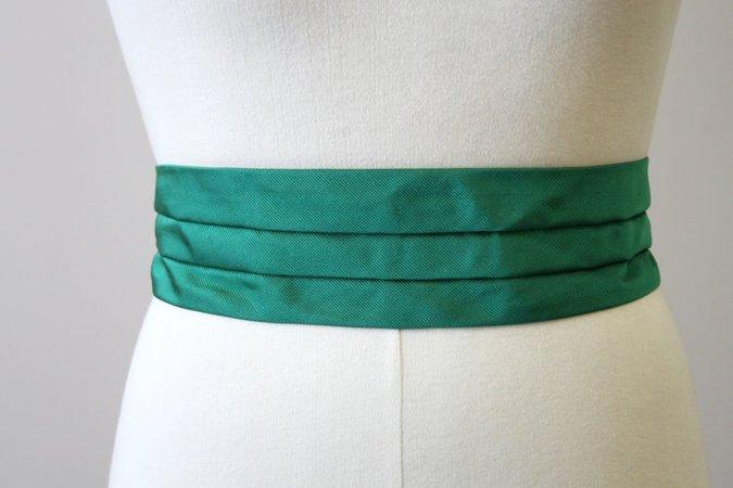 1980s Green Pleated Cummerbund Belt | Etsy