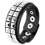 """Amazon.com: 1"""" inch Alternate Spike Black Wristband: Cuff Bracelets: Jewelry"""