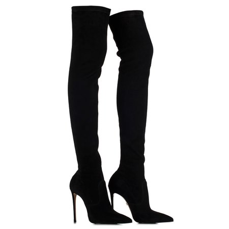 EVA STRETCH BOOT 120 mm | Black suede over the knee boot | Le Silla