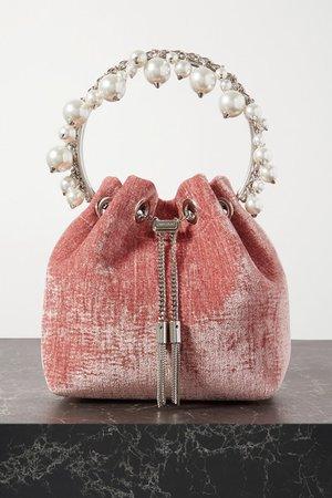 Bon Bon Faux Pearl-embellished Velvet Bucket Bag - Pink