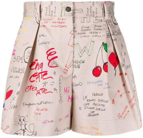 pleated waist shorts