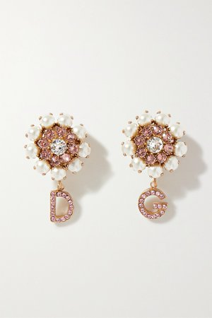 Pink Gold-tone, crystal and faux pearl clip earrings | Dolce & Gabbana | NET-A-PORTER