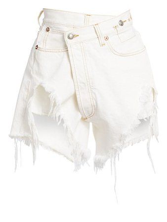 Distressed Cross-Over Denim Shorts