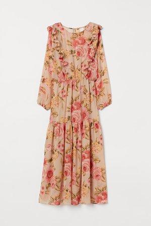 Long Tiered Dress - Light beige/floral - | H&M US