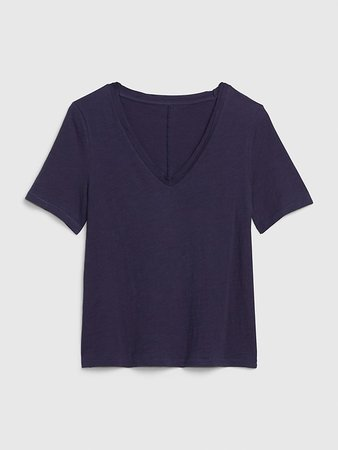 Slub Short Sleeve V-Neck T-Shirt   Gap