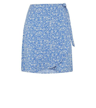 Blue Floral Mini Wrap Skirt | New Look