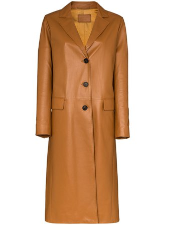Prada single-breasted leather trench coat brown 568821WDV - Farfetch