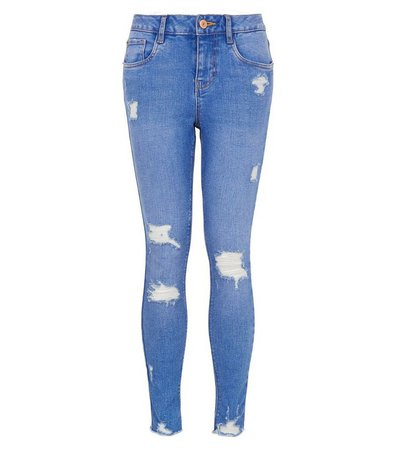 Girls Bright Blue Ripped Skinny Jeans | New Look