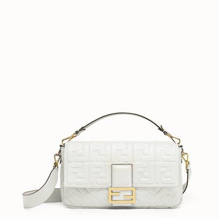 White leather bag - BAGUETTE LARGE | Fendi