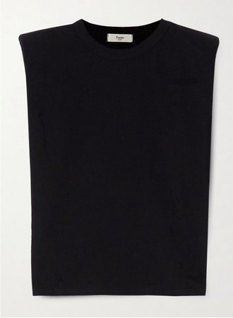Frankies Shop Black Shoulder Pad Tank