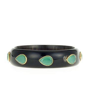 Ashley Pittman Horn Bangle Bracelet with Green Aventurine