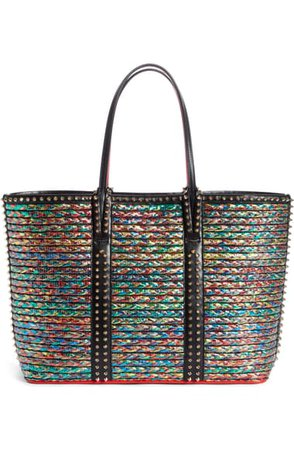 Christian Louboutin Cabata Leather Trim Straw Tote | Nordstrom