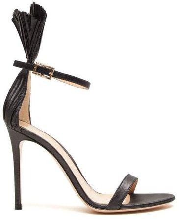 Lame 105 Plisse Cuff Stiletto Sandals - Womens - Black