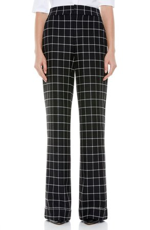 Alice + Olivia Dylan Check Cuffed Wide Leg Trousers   Nordstrom