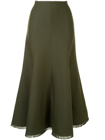 Shop green Gabriela Hearst frayed edge skirt with Express Delivery - Farfetch