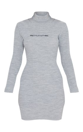 *clipped by @luci-her* Prettylittlething Grey Rib Knitted Bodycon Dress | PrettyLittleThing USA