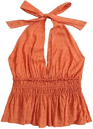 SweatyRocks Women's Deep V Neck Halter Crop Cami Top Sleeveless Vest