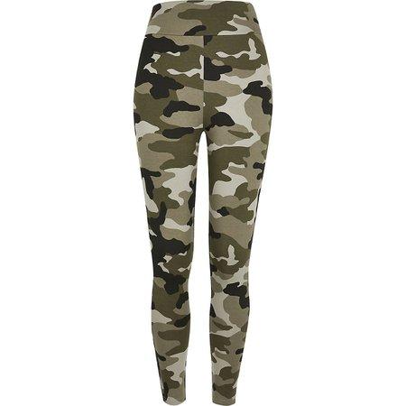 Khaki camo high waisted leggings | River Island