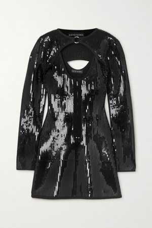 Black Cutout sequined knitted mini dress | David Koma | NET-A-PORTER