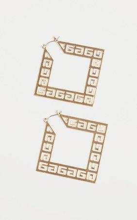 Gold Patteren Hoop Earrings | Accessories | PrettyLittleThing USA