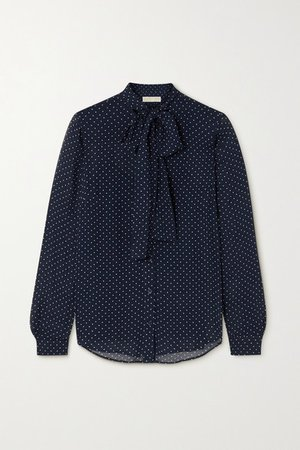 Pussy-bow Polka-dot Georgette Blouse - Navy