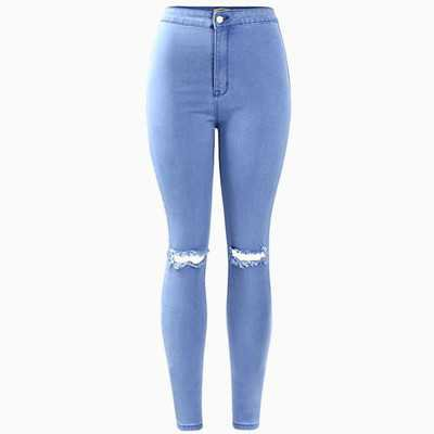 Knee Slit High Waist Skinny Jeans (Light Blue) · Megoosta Fashion · Free shipping worldwide on all orders