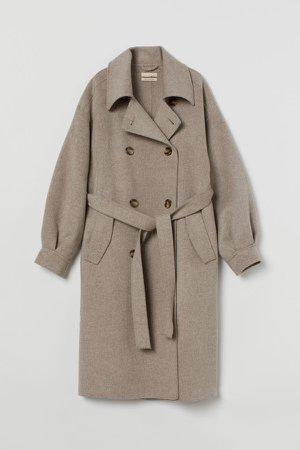 Oversized Wool Coat - Beige
