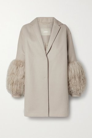 Shearling-trimmed Wool And Cashmere-blend Coat - Beige