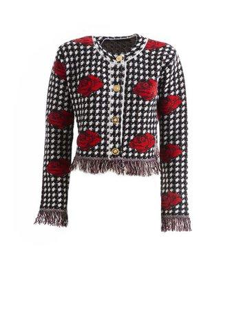 versace rose houndstooth jacket