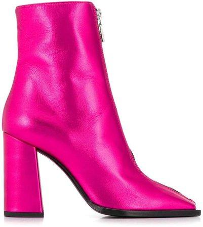 squared toe metallic boots