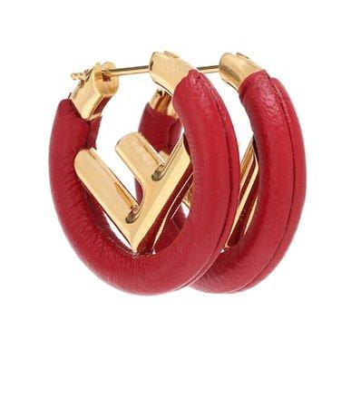 F Is Fendi leather earrings