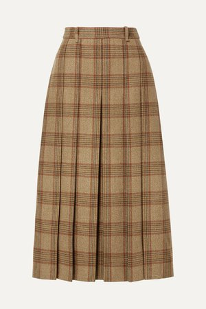 Beige checked wool midi skirt