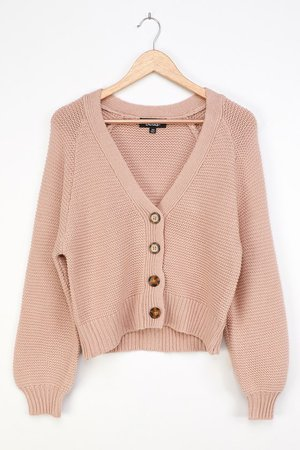 Beige Cardigan - Knit Cardigan Sweater - Short Cardigan - Lulus