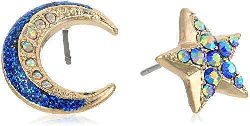 Amazon.com: Betsey Johnson Blue Moon and Star Mismatch Stud Earrings: Clothing