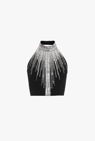 Short Black Top With Silver Embroidery for Women - Balmain.com