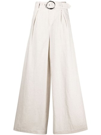 STAUD Eris wide-leg linen trousers - FARFETCH