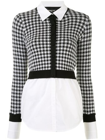 Shop black & white Paule Ka checked cropped cardigan with Express Delivery - Farfetch