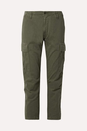 Cropped Cotton-twill Pants - Army green