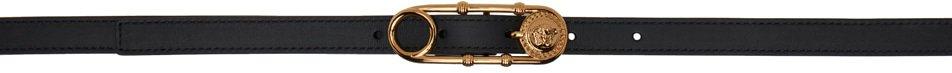 Versace, Black Logo Safety Pin Belt